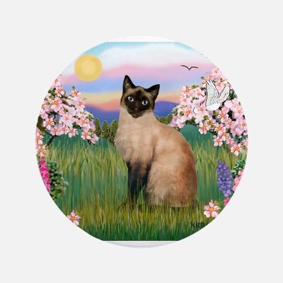 "Siamese Spring Blossom 3.5"" Button"