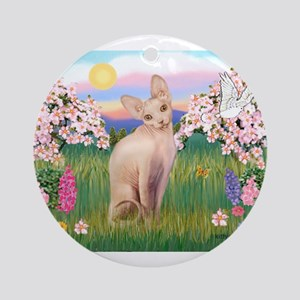 Spring Blossoms & Sphynx Cat Ornament (Round)