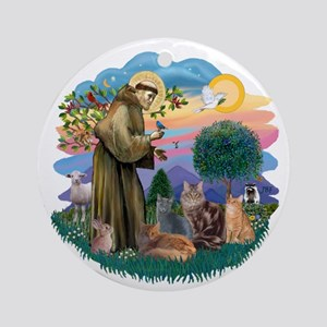 St Francis / 4 Cats Ornament (Round)