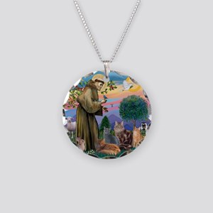 St Francis / 4 Cats Necklace Circle Charm
