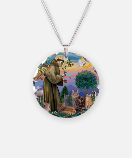 St Francis / 4 Cats Necklace