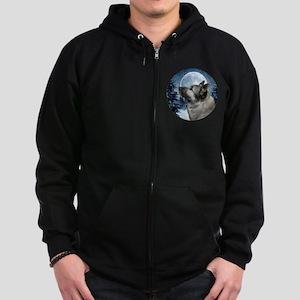 Norwegian Elkhound Zip Hoodie (dark)