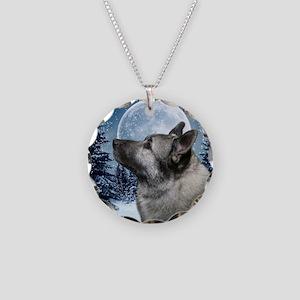 Norwegian Elkhound Necklace Circle Charm