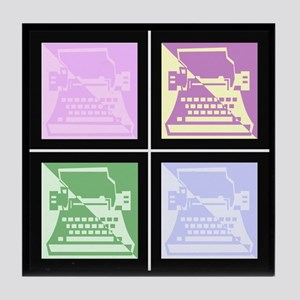 Pastel Pop Art Typewriter Tile Coaster