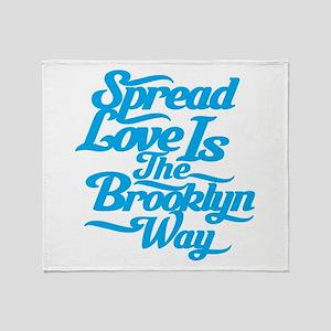 Brooklyn Love Blue Throw Blanket