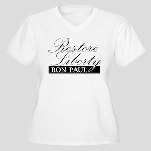 Restore Liberty - Ron Paul Women's Plus Size V-Nec