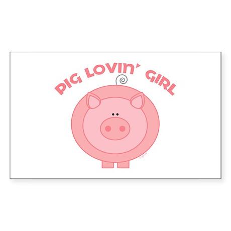 Pig girl Rectangle Sticker