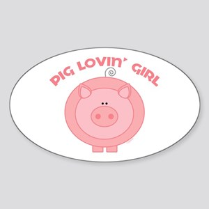 Pig girl Oval Sticker