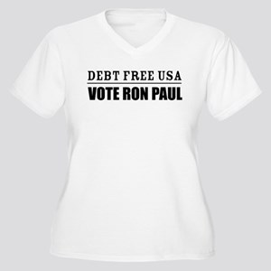 Debt Free USA - Vote Ron Paul Women's Plus Size V-