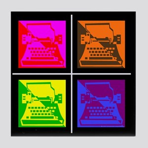 Vivid Pop Art Typewriter Tile Coaster