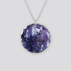 Amethyst Crystal Cluster Necklace Circle Charm