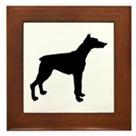 Doberman Pinscher Silhouette Framed Tile