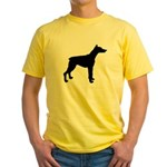 Doberman Pinscher Silhouette Yellow T-Shirt