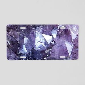 Amethyst Crystal Cluster Aluminum License Plate