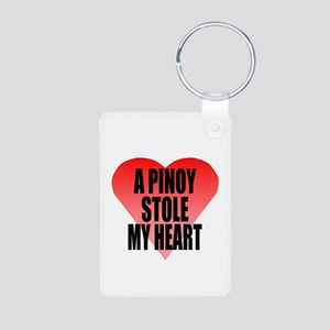 Pinoy Stole My Heart Aluminum Photo Keychain