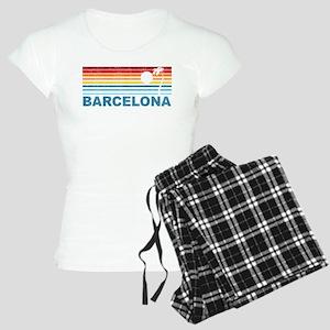 Retro Palm Tree Barcelona Women's Light Pajamas