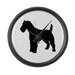 Fox Terrier Silhouette Large Wall Clock