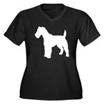 Fox Terrier Silhouette Women's Plus Size V-Neck Da