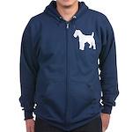 Fox Terrier Silhouette Zip Hoodie (dark)