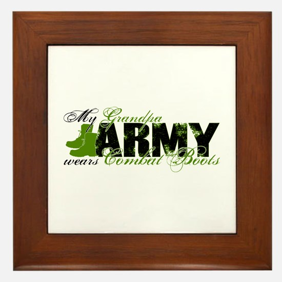 Grandpa Combat Boots - ARMY Framed Tile