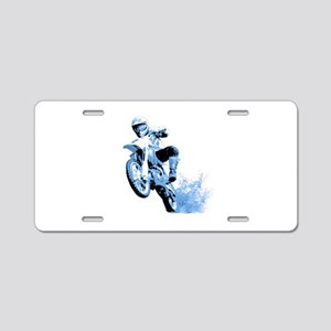 Blue Dirtbike Wheeling in Mud Aluminum License Pla