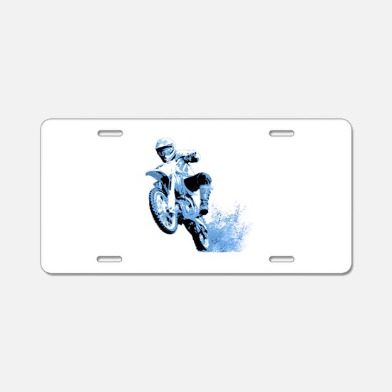 Blue Dirtbike Wheeling in Mud Aluminum License Pla