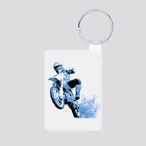 Blue Dirtbike Wheeling in Mud Aluminum Photo Keych
