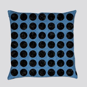 CIRCLES1 BLACK MARBLE & BLUE COLOR Everyday Pillow