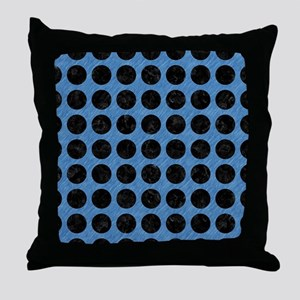 CIRCLES1 BLACK MARBLE & BLUE COLORED Throw Pillow
