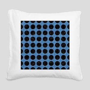 CIRCLES1 BLACK MARBLE & BLUE Square Canvas Pillow