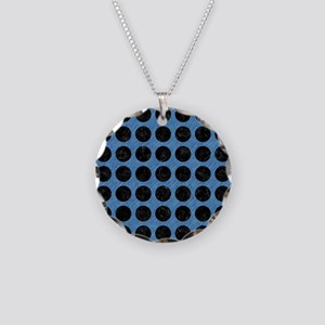 CIRCLES1 BLACK MARBLE & BLUE Necklace Circle Charm