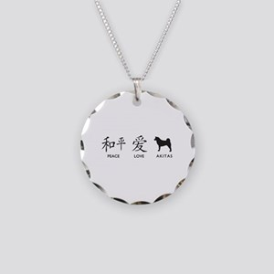Japanese Peace, Love, Akitas Necklace Circle Charm