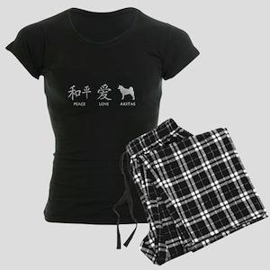 Japanese Peace, Love, Akitas Women's Dark Pajamas