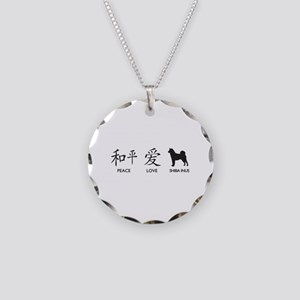 Japanese Peace, Love, Shibas Necklace Circle Charm