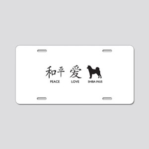 Japanese Peace, Love, Shibas Aluminum License Plat