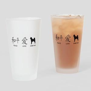 Japanese Peace, Love, Shibas Drinking Glass