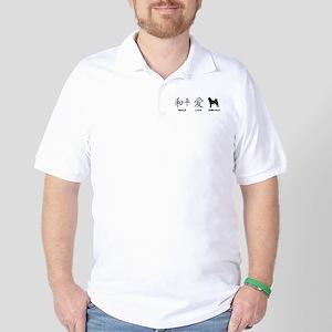 Japanese Peace, Love, Shibas Golf Shirt