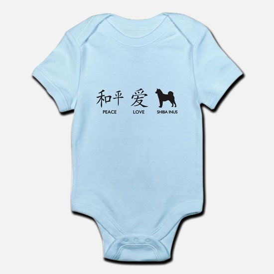 Japanese Peace, Love, Shibas Infant Bodysuit