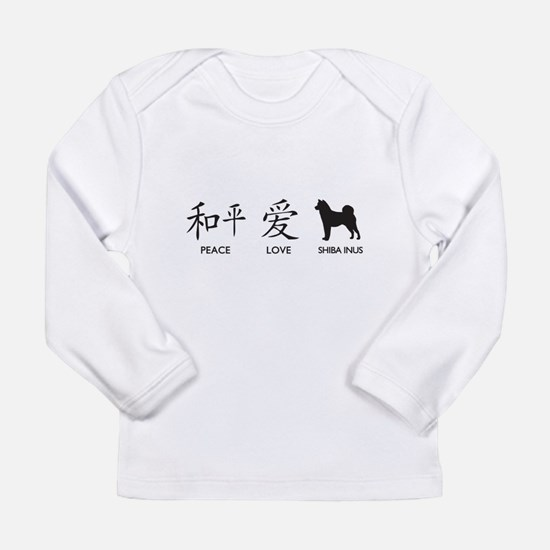 Japanese Peace, Love, Shibas Long Sleeve Infant T-
