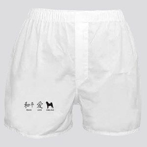 Japanese Peace, Love, Shibas Boxer Shorts