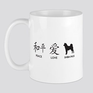 Japanese Peace, Love, Shibas Mug