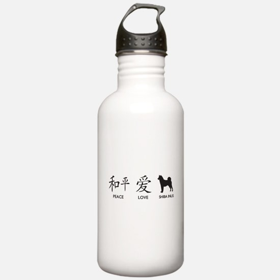 Japanese Peace, Love, Shibas Water Bottle