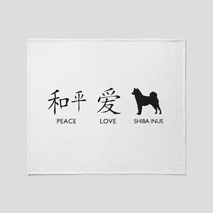 Japanese Peace, Love, Shibas Throw Blanket