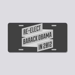 Angular Re-Elect Obama Banner Aluminum License Pla
