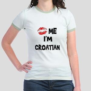 Kiss Me I'm Croatian Jr. Ringer T-Shirt