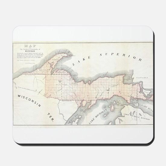 1849 Upper Peninsula Map Mousepad
