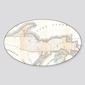 1849 Upper Peninsula Map Sticker (Oval)