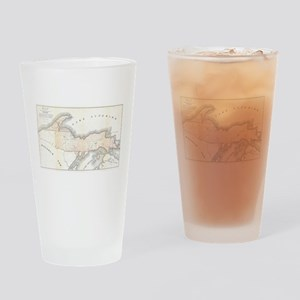 1849 Upper Peninsula Map Drinking Glass