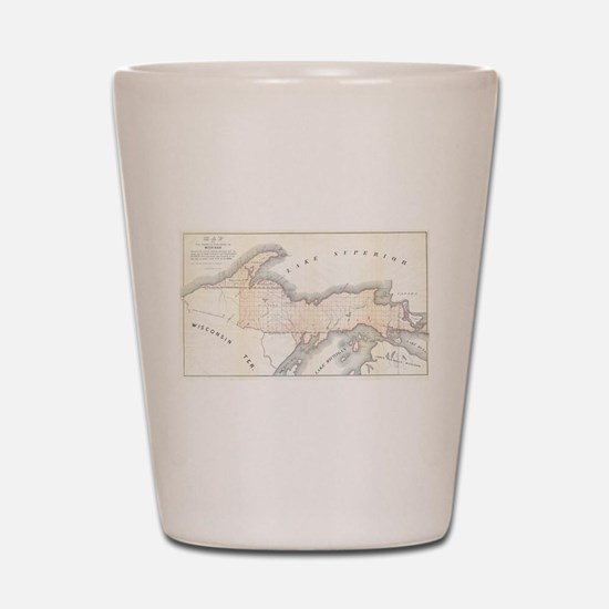 1849 Upper Peninsula Map Shot Glass