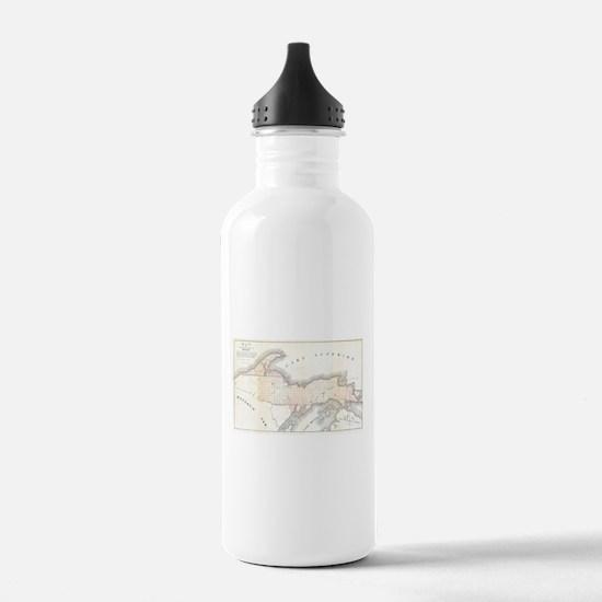 1849 Upper Peninsula Map Water Bottle